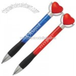 Unique twist action pen and heart stress ball