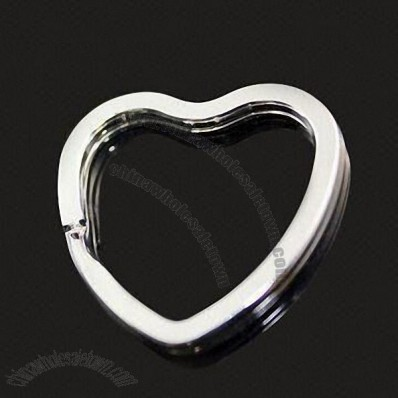 Unisex Metal Keychain in Heart Shape and Silver Color