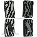 Universal Vertical Leatherette Pouch with Zebra Design