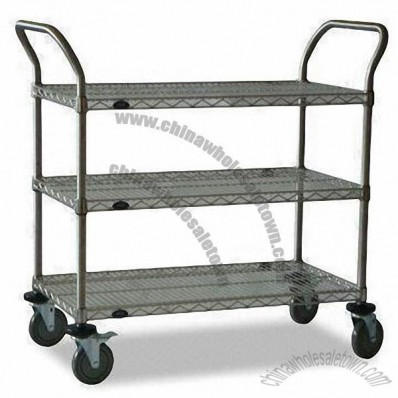 Utility Cart, Made of Steel and Stainless Steel