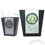 V Shaped Leather Pen Holder with Clock