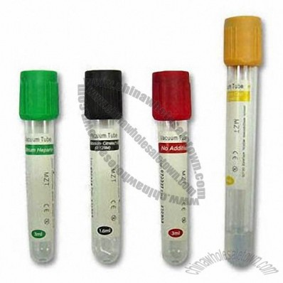 Vacuum Blood Test Tubes, Includes Heparin, Oxalate and EDTA Tubes are Also Available
