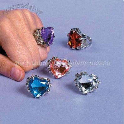 Valentine Jeweled Heart Rings