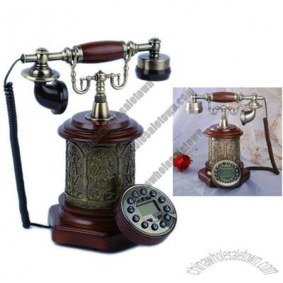 Vintage Carved Wooden Desktop Corded Telephone