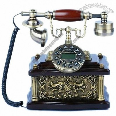 Vintage Gold-plated Wooden Desktop Corded Telephone