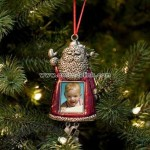 Vintage Metallic Santa Digital LCD Photo Ornament