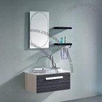 Wall-mounted Modern Black Multiplyer Solid Wood Bathroom Cabinet with Mirror