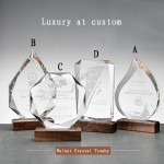 Walnut Crystal Trophy - Wood Glass Awsrd