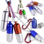 Waterproof Metal Capsule Keychain Pill Box with Carabiner
