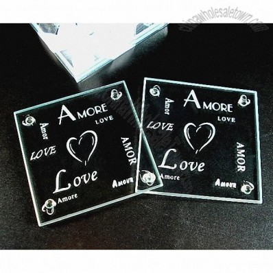 Wedding Amore Love Heart Glass Coaster