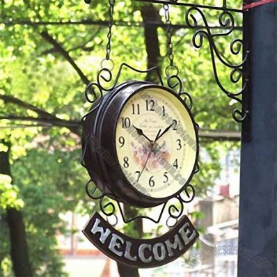 Welcome Iron double sided Wall Clock