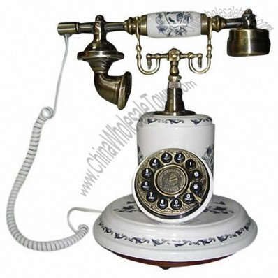 White Antique Style Wooden Telephones