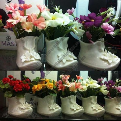 White Ceramic Shoes Shaped Vase