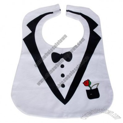 White Cute Tuxedo Toddler Baby Bib Feeding Bib