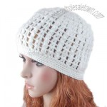 White Hat Hand knit Crochet Beanie Girl