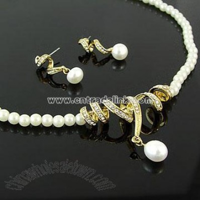 White Pearl Necklace Set Wedding Jewelry