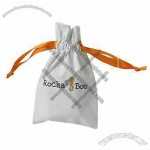 White Velvet Drawstring Pouch with Logo Printing