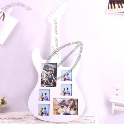 White Violin Wood Photo Frame