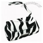 White Zebra w/Black Velvet Stripes Horizontal Leather Universal Cell Phone Pouch