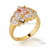 Wholesale Jewelry Colorful CZ 18k Gold Plated Brass Ring