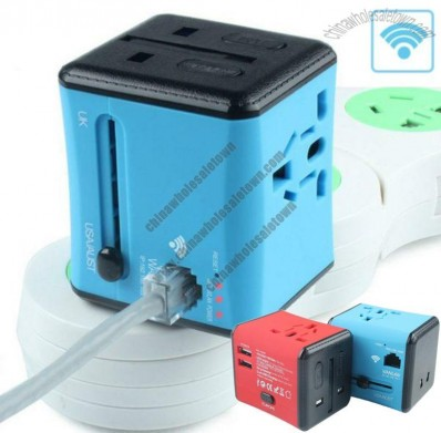 Wifi Universal Travel Adaptor with 2USB