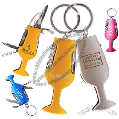 Wine Goblet Shaped Multifunctional Tool Keychain