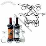 Wine Rack, Suitable for 2 Bottles and 2 Wine Glasses