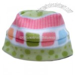 Winter Fleece Hat Green with pink dots and squares Sizes newborn to adult