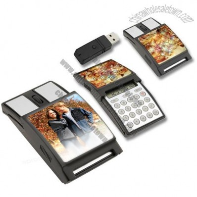 Wireless Optical Mouse With Slide Up Cover Calculator