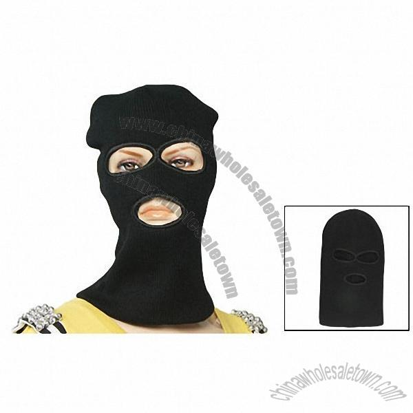 62d4a0fb0a85e Woman Men Black Rib Knitted Ski Mask Balaclava Hat Cap 3 Holes Face Shield