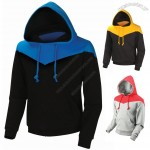 Womens Double-layer Cotton Hooded Sweatshirt Two-tone Color Hoodie