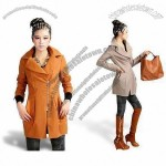 Women's Dust Coat with Turndown Collar, Fly Zip and Long Sleeves, Slim Fit