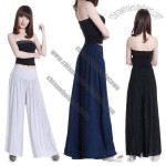 Women's Wide Leg Loose Pants with Button Detail