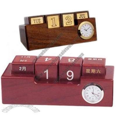 Wood & Brass Perpetual Calendar & Clock