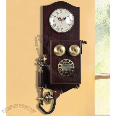 Wood Antique Style Decor Corded Wall Telephone