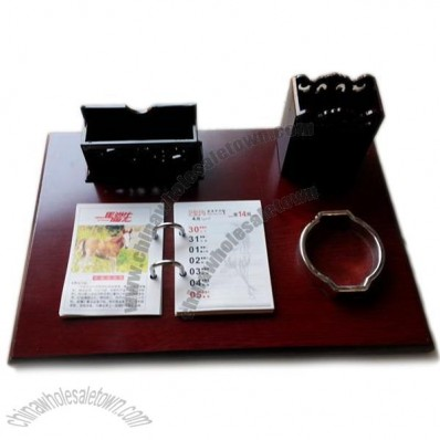 Wood Base Desk Calendar with Pen Holder and Name Card Holder and Clip Tray