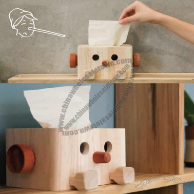 Wood Pinocchio Tissue Box