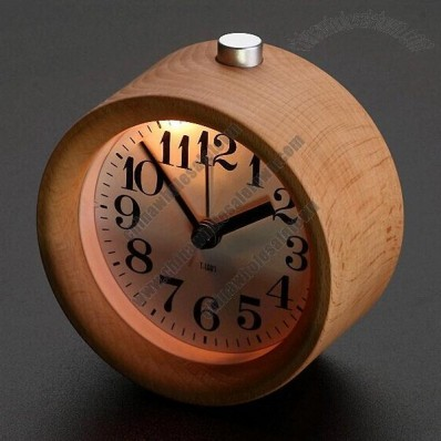 Wood Round Mute Alarm Clock