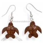Wood Turtle Fashion Earrings