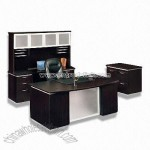 Wood Veneer Office Desk with Espresso Finish