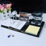 Wooden Base Desktop Gift Set with Crystal Penholder, Memo, Calendar, Name Card Holder, Crystal Clock
