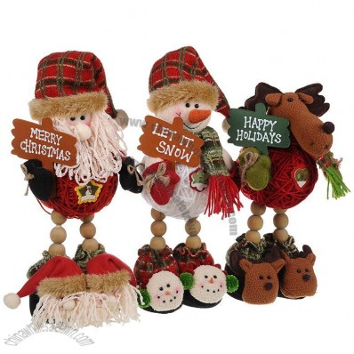 Wooden Beads Leg Christmas Stuffed Toys