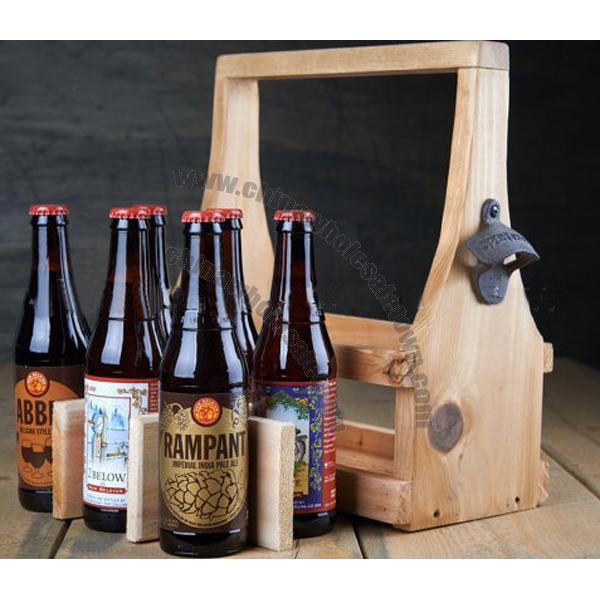 Wooden Beer Tote Carrier With Bottle Opener Bottle Carriers China