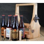 Wooden Beer Tote Carrier with Bottle Opener