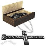 Wooden Black Dominoes Storage Box With 28 Double 6 Dominoes