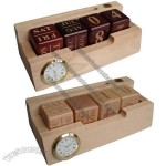 Wooden Block Perpetual Calendar with Clock and Name Card Holder