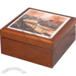 Wooden Box With Tile Top, 2 5/8