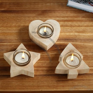 Wooden Candle Holder - Tree Heart Star