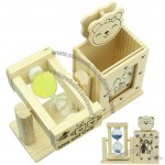 Wooden Cartoon Penholder With Sandglass And Photo Frame
