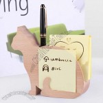 Wooden Cat Pen Holder with Memo Card Holder